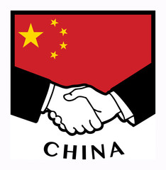 China flag and business handshake, vector illustration