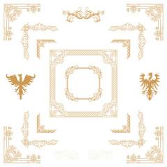 Vector set of gold decorative horizontal floral elements, corne