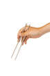 isolated hand holding chopstick