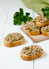 A fresh bread with tuna