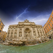 Wide angle view of Trevi Fountain in Autumn - Rome