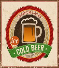 Vintage Cold Beer Poster. Vector illustration.