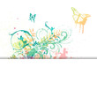 Colorful abstract vector background with butterflies