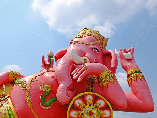 big pink Ganesha in relax pose, thailand