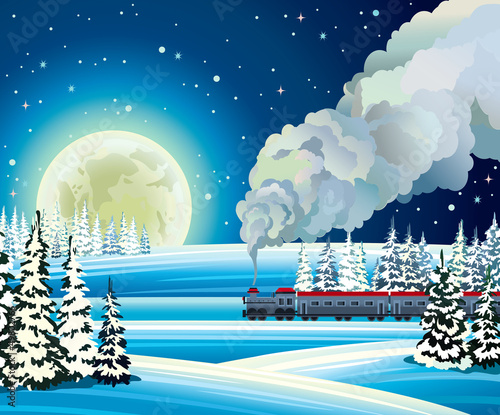 Full moon and train with smoke on a snowdrift background.