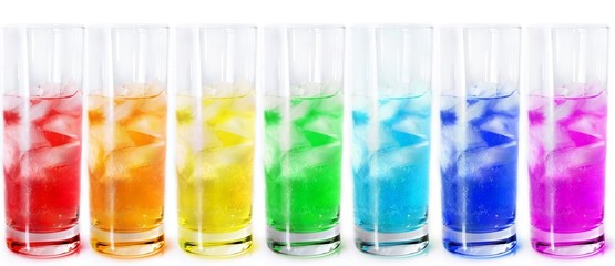 Multicolored fizzy water.
