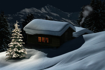 Berghütte zur Weihnachtszeit