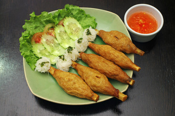 Vietnam  Food (grill prawn rosted on open sugar cane skewer)