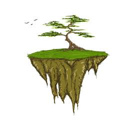 Tree growing on a floating island, raster illustration