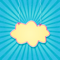 Retro Blue Card with Paper Cloud Hanging on Threads
