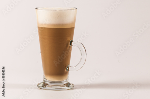 Latte coffee isolated on white