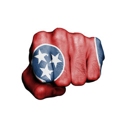 United states, fist with the flag of Tennessee