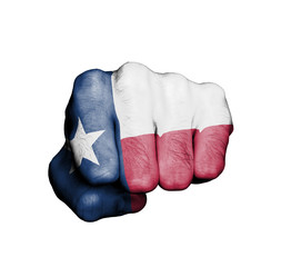 United states, fist with the flag of Texas