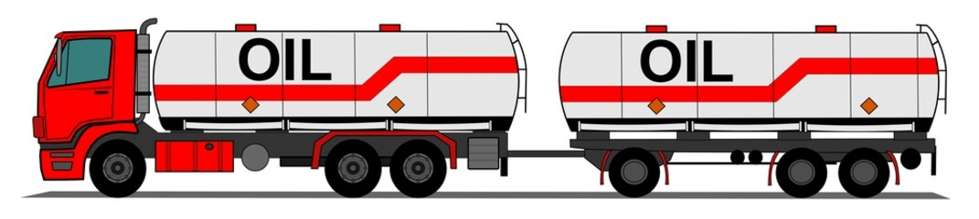 A side illustration tank truck with trailer
