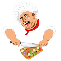 Funny Chef and fresh vegetable ingredient for vegetarian salad