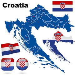 Croatia vector set. Country shape and flags.