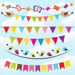 bunting and garland set on the sky