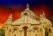 Beautiful sunset colors over Sacred Heart Cathedral in Montmartr
