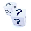 Two white dice with question marks