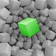 Grüner 3D-Würfel