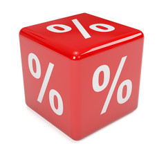 3d Red dice with percent symbol