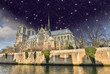 Paris. Beautiful night view of Notre Dame Cathedral and Seine Ri