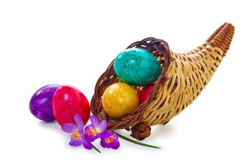 Easter eggs in a wicker basket