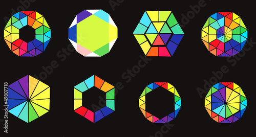 Set of hexagons - colorful design elements