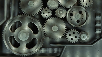 Close-up of rotating gears, teamwork concept
