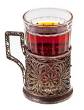 tea in retro glass with glass-holder