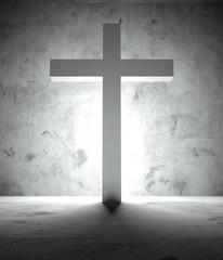 Christian cross and shadow, dramatic scene