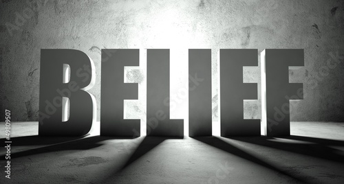 Belief word with shadow, background