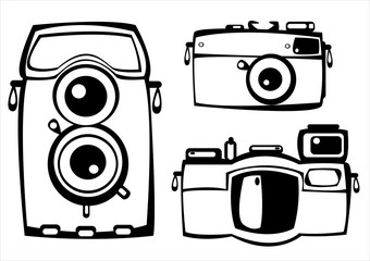 vector set of three vintage film photo cameras isolated on white