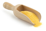 wooden scoop with cornmeal