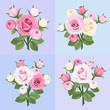 Set of four roses branches. Vector illustration.