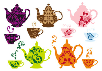 tea pots and cups with baroque pattern, vector
