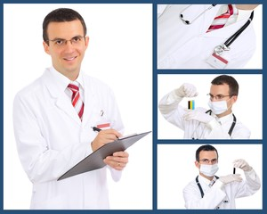Set (collage) of doctor .Isolated over white background.