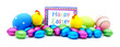 Pile of colorful eggs, candy and toys with Happy Easter card
