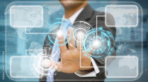 Businessman technology at work concept