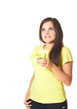 Attractive smiling girl with long dark hair in a yellow shirt wi