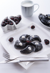 sweeten pierogi with blackberries - B & W