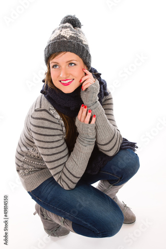Woman and wooly outfit