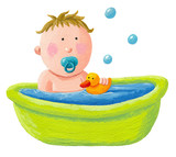 Baby bath with a yellow rubber duck