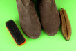 Brushes for suede shoes, on color background