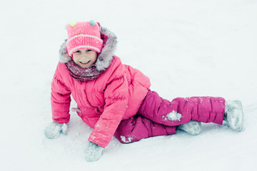 Baby winter outdoors.