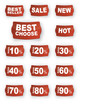 Vector red price tags, labels, stickers, sale
