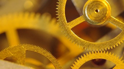 Gears of a chronograph. Clockwork extreme closeup.