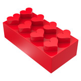 Toy block with hearts isolated on white background. Abstract 3d