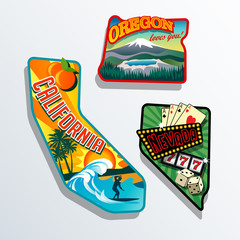 California, Oregon, Nevada United States retro illustrations