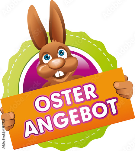 Button Osterhase Osterangebot Orange